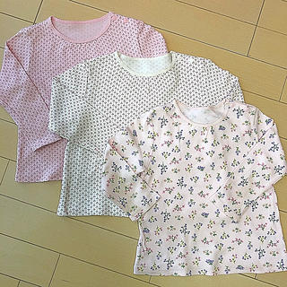 UNIQLO - UNIQLO 長袖Tシャツ ロンT 90サイズ 花柄 3枚