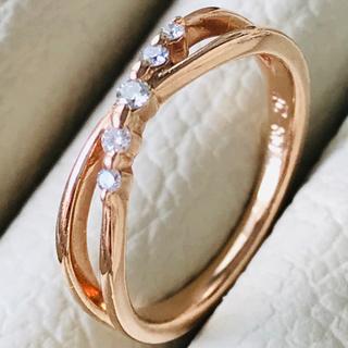 4℃ - k10 4℃ ピンクゴールド ダイアモンド クロスデザイン ピンキーリング