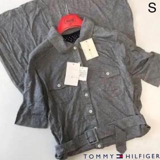 トミーヒルフィガー(TOMMY HILFIGER)の新品タグ S トミー ヒルフィガー 五分袖 ロング ワンピース 共布ベルト付 灰(ロングワンピース/マキシワンピース)