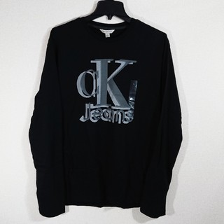 カルバンクライン(Calvin Klein)の【L】カルバン クライン/ロンT/CKロゴプリント/長袖Tシャツ/黒(Tシャツ/カットソー(七分/長袖))