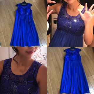 定価33000 ドレス ワンピース ブルー(ミディアムドレス)