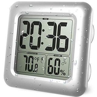 Iadong 防水時計 お風呂 デジタル壁時計 4つの吸盤とマウント付き 白(その他)