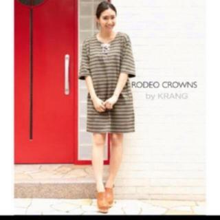 ロデオクラウンズワイドボウル(RODEO CROWNS WIDE BOWL)のRODEO CROWNS レースアップボーダー Tシャツ ワンピース(ミニワンピース)