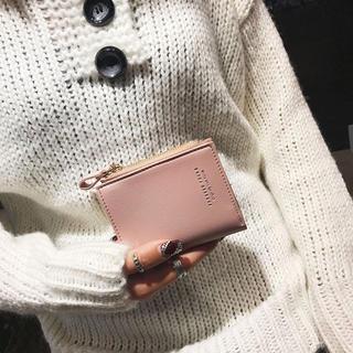 ❤人気❤  新品 財布 2つ折り ミニ財布 シンプル エレガント ピンク(財布)
