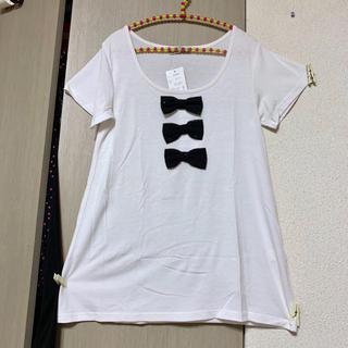 しまむら - 新品◆しまむら*3連リボン付き♡AラインゆったりTシャツ♡ホワイト