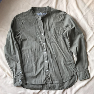 MUJI (無印良品) - 無印良品 ノーカラーシャツ スタンドカラーシャツ