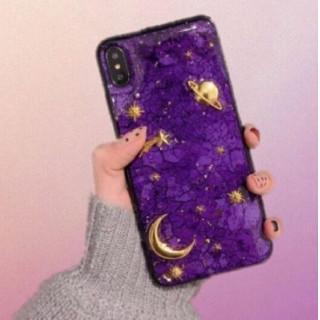 iPhoneケース7/8 綺麗な星空風 キラキラ パープル
