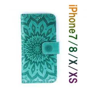 新品!iPhone7/8 アイフォンケース 手帳型 エスニックサン