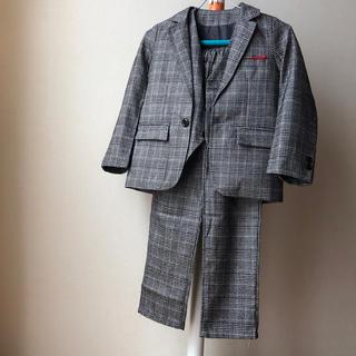 140 男の子スーツ チェック 美品
