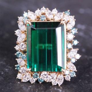 タサキ(TASAKI)の TASAKI タサキ リング 特大 グリーン トルマリン ダイヤモンド レア(リング(指輪))
