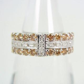 K18WG ダイヤモンド ブラウン リング 13号 [f55-9](リング(指輪))