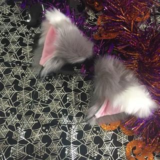 グレー 猫耳 仮装 ふわふわ コスチューム カチューシャ 小道具 変身 衣装(小道具)
