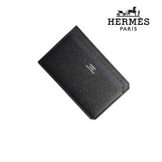 エルメス(Hermes)の★新品★正規店購入★エルメス カードケース ブラック ネイビー レザー(名刺入れ/定期入れ)