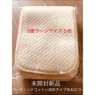 新品 お試し用 オーガニックコットン布オムツ おしめ 成形 5枚 ラージサイズ(布おむつ)