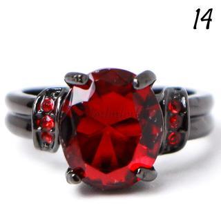 P12 リング 14号 人工石 ルビー ブラックゴールド オーバル(リング(指輪))
