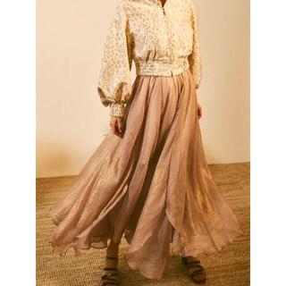 リリーブラウン(Lily Brown)のLilyBrown 光沢シースルーフレアスカート(ロングスカート)