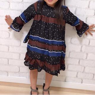 韓国子供服💛ドットボーダーシフォンワンピース💛11サイズ💛新品タグなし(ワンピース)