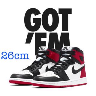 NIKE - Nike AIR JORDAN 1 BLACK Toe SATIN 26cm