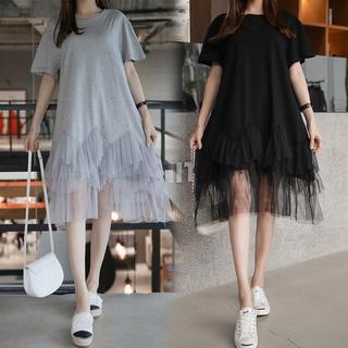 【即購入OK】大きいサイズ 裾レースワンピース(ミニワンピース)