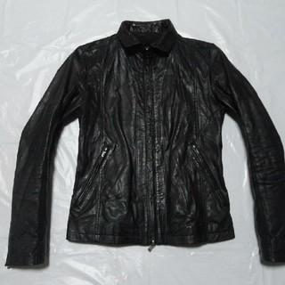 シェラック(SHELLAC)の美襟 牛革 美品◆シェラック レザージャケット 黒 44S◆ライダース革ブルゾン(レザージャケット)