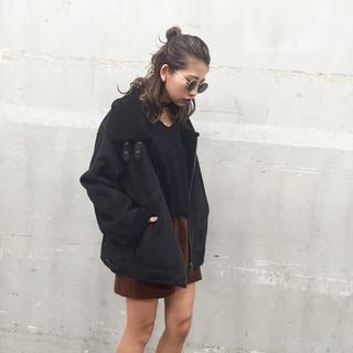 ムルーア(MURUA)のムルーア  フェイクムートンボンバージャケット ブラック S(ムートンコート)