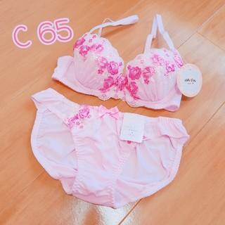 新品*C65*フラワー刺繍ゆるふわブラ&ショーツ*送料込(ブラ&ショーツセット)