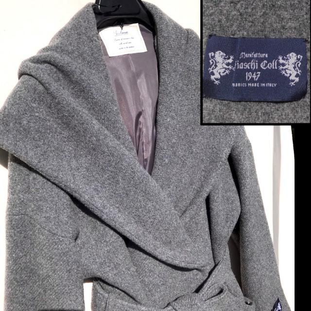 BABYLONE(バビロン)のITALY製 ウール ロングコート グレー リボンベルト フード ふんわり 素敵 レディースのジャケット/アウター(ロングコート)の商品写真