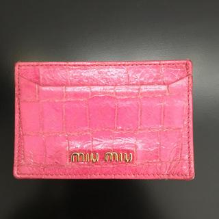 ミュウミュウ(miumiu)のミュウミュウ MIUMIU カードケース パスケース ピンク(名刺入れ/定期入れ)
