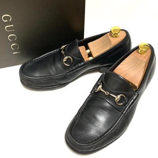 Gucci - GUCCI 41 1/2 E 箱付 ホースビットローファー メンズ ブラック