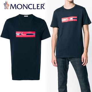 MONCLER - 51 MONCLER 19ss ネイビー ロゴプリント  Tシャツ size L