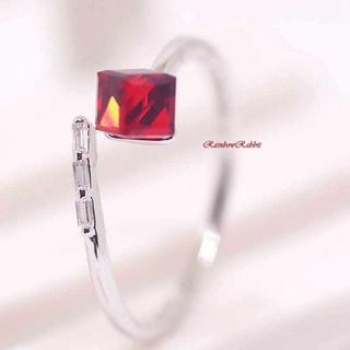 プラチナ 天然 水晶 レッド 立方体 キューブ リング yu1112e(リング(指輪))