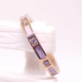 指輪 18K RGP ゴールド ダイヤ CZ 貝殻石 リング gu1385e(リング(指輪))