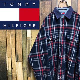 TOMMY HILFIGER - 【激レア】トミーヒルフィガー☆刺繍ロゴコーデュロイ襟切替チェックシャツ 90s