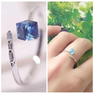 天然 水晶 スカイブルー 立方体 キューブ リング yu1110e(リング(指輪))