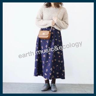 アースミュージックアンドエコロジー(earth music & ecology)の【美品】earth music&ecology 花柄 スカート(ロングスカート)