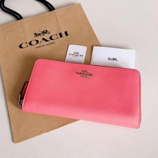 COACH - 新品 最新モデル COACH 長財布 人気 コーラルピンク