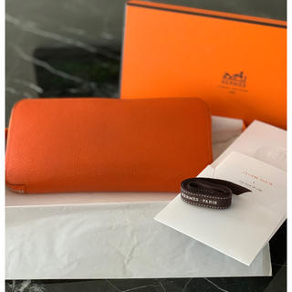 Hermes - HERMES エルメス アザップ シルクイン オレンジ 長財布