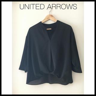 UNITED ARROWS - キーネック シャツ ブラウス 黒
