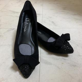 DIANA - 新品未使用!ダイアナ パンプス 黒 ブラック リボン ラメ
