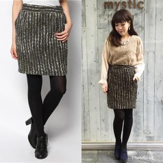 ミスティック(mystic)のmystic ラメツイードタックタイトスカート チャコールグレー(ひざ丈スカート)