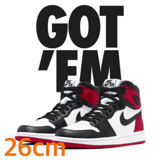 NIKE - 26cm NIKE air Jordan 1 satin black toe