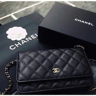CHANEL - Chanel シャネル キャビアスキン チェーンウォレット 黒 ゴールド