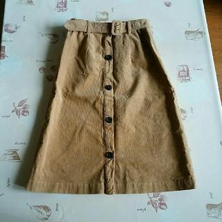 ミスティック(mystic)のコーデュロイスカート フロントボタン ベージュ系(ひざ丈スカート)