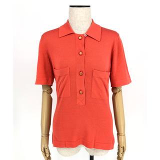 シャネル(CHANEL)のシャネル☆ヴィンテージ ココボタン ポロシャツ トップス オレンジレッド(ポロシャツ)