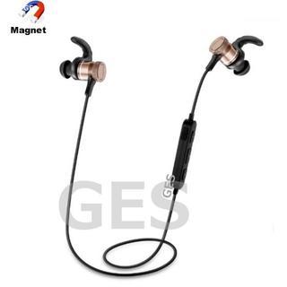 ★ゴールド&ブラック マグネット付 Bluetooth ワイヤレス イヤホン