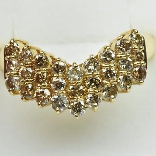 K18 合計 1.02ct V字 ダイヤモンドリング 14号 指輪  (リング(指輪))