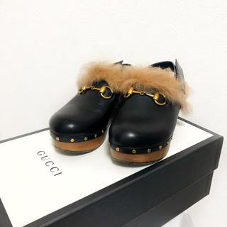 グッチ(Gucci)の【美品】GUCCI プリンスタウン サボ サンダル レディース 37 ブラック(ローファー/革靴)