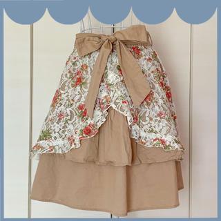 アクシーズファム(axes femme)のフラワーレース柄のスカート【axes femme】(ひざ丈スカート)
