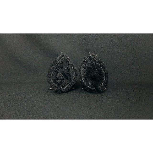 【 ショートブラックネコミミ 】ヘアピンねこみみ◆黒色短毛ねこ耳◆髪に着ける猫耳 ハンドメイドのアクセサリー(ヘアアクセサリー)の商品写真