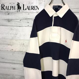 POLO RALPH LAUREN - 【レア】ポロラルフローレン☆刺繍ワンポイントロゴ ボーダー ラガーシャツ 90s